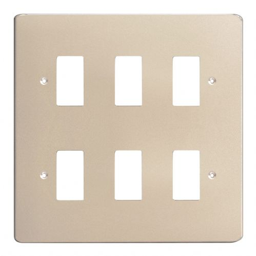 Varilight XDNPG6 PowerGrid Satin Chrome 6 Gang Grid Plate (Double Twin Plate)